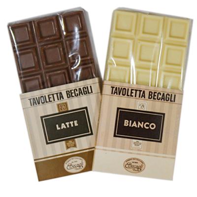 Tavolette di cioccolato al latte e bianco peckaging